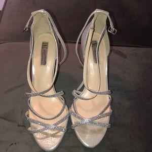 Inc silver sparkle strapless sandal